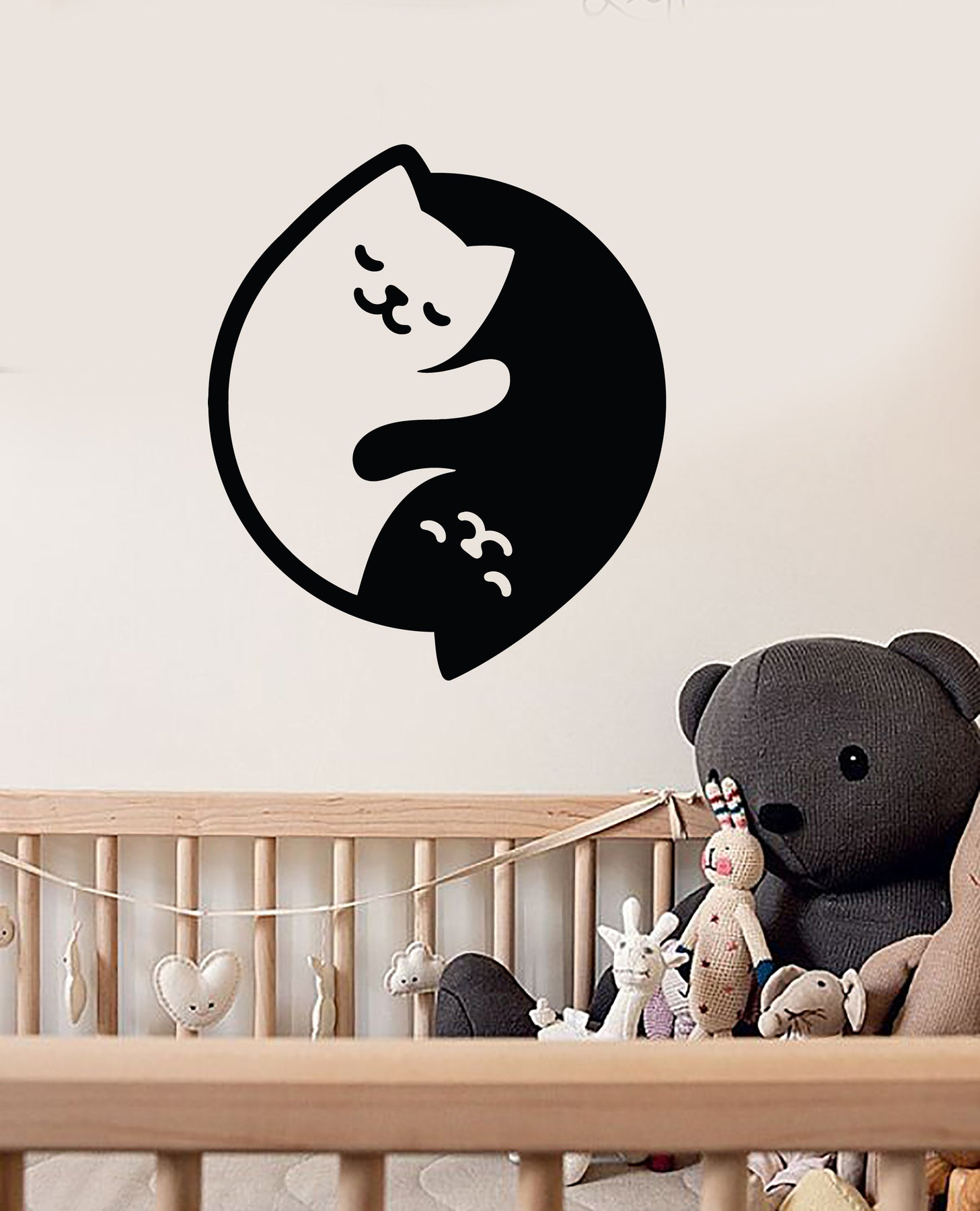 Vinyl Wall Decal Yin Yang Symbol Buddhism Pets Cats For Nursery Stickers  (3308ig)