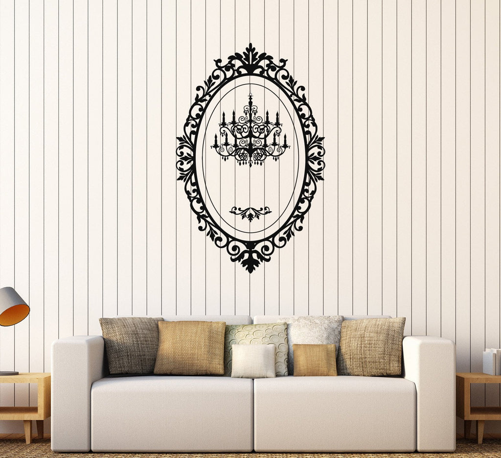 Vinyl wall decal chandelier mirror frame lighting patterns art vinyl wall decal chandelier mirror frame lighting patterns art stickers unique gift 065ig arubaitofo Gallery
