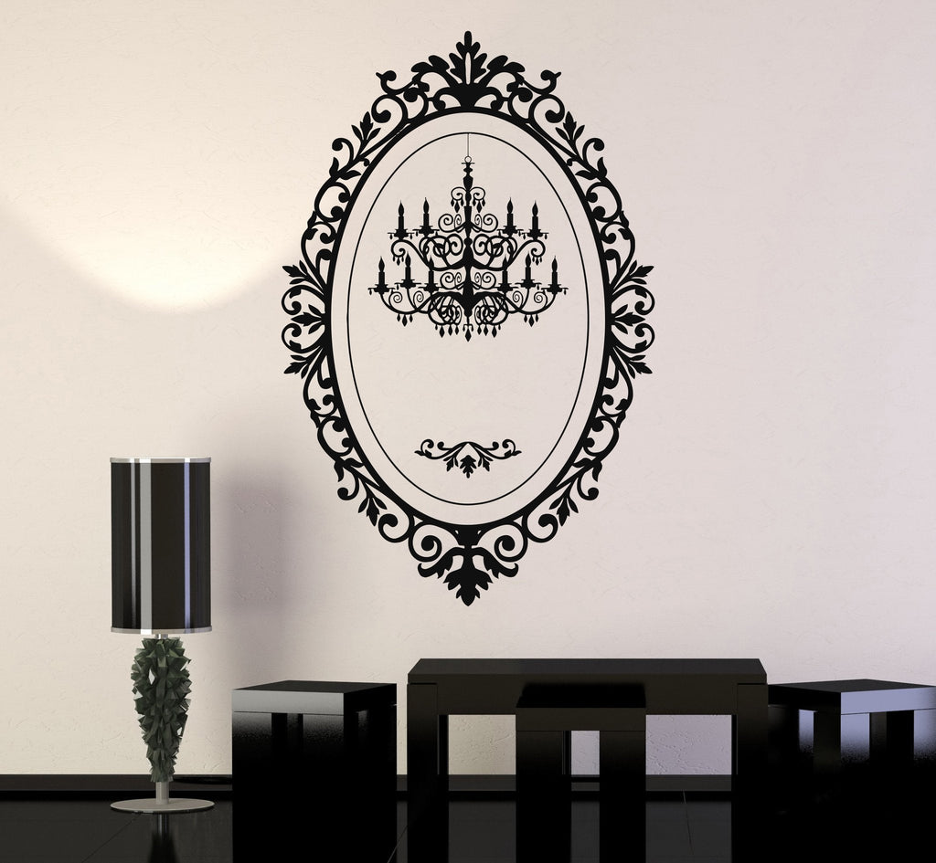 Vinyl wall decal chandelier mirror frame lighting patterns art vinyl wall decal chandelier mirror frame lighting patterns art stickers unique gift 065ig mozeypictures Gallery
