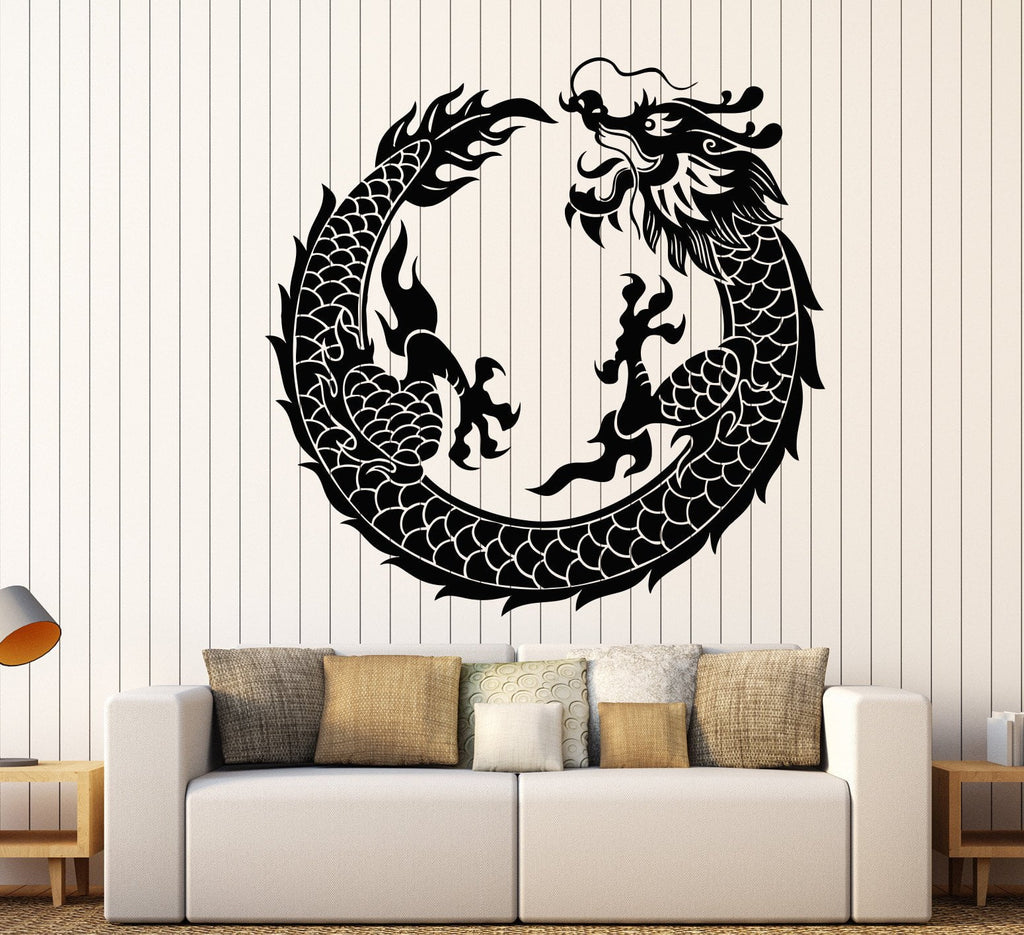 Vinyl Wall Decal Asian Chinese Dragon Circle Fantasy Japanese - Vinyl wall decals asian