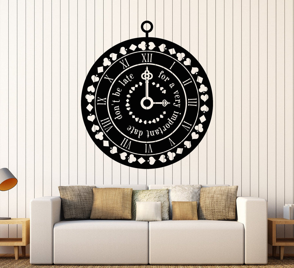 Vinyl Wall Decal Clock Time Suit Cards Fairy Tale Nursery Design Stickers Unique Gift (1028ig  sc 1 st  Wallstickers4you & Vinyl Wall Decal Clock Time Suit Cards Fairy Tale Nursery Design ...