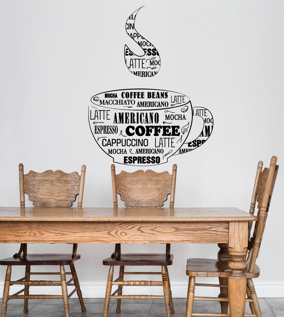 Vinyl Wall Decal Coffee Cup Shop Words Kitchen Dining Room Unique Gift Ig4819