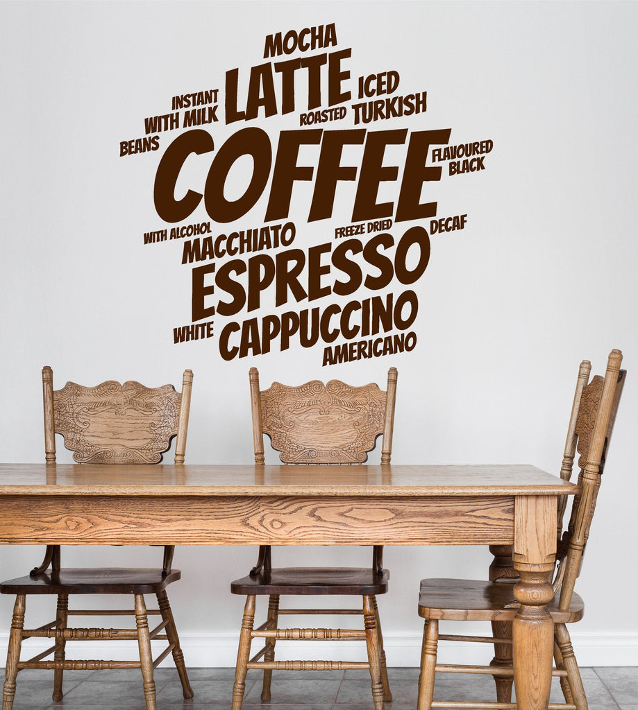 Vinyl Wall Decal Coffee Shop Decoration Words Kitchen Cafe Stickers Unique  Gift (ig4712)