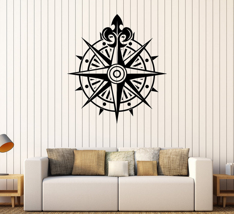 Vinyl Wall Decal Compass Wind Rose Ocean Nautical Marine Stickers Unique Gift (251ig)