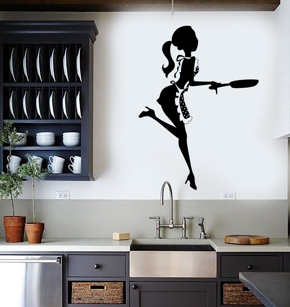 Vinyl Wall Stickers Kitchen Chef Woman Cook Cooking Restaurant Mural Unique  Gift (169ig)