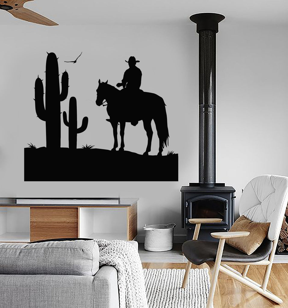 Vinyl Wall Decal Cowboy Wild West Cactus Boy Room Stickers Decor Unique Gift (ig4766) : cowboy wall decal - www.pureclipart.com