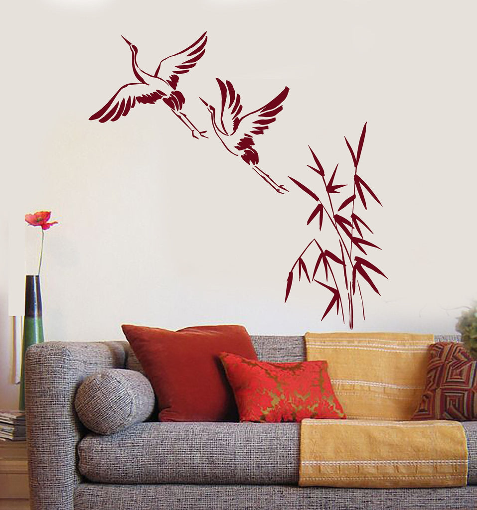Vinyl Wall Decal Cranes Bamboo Asian Birds Japanese Art Stickers - Japanese wall decals