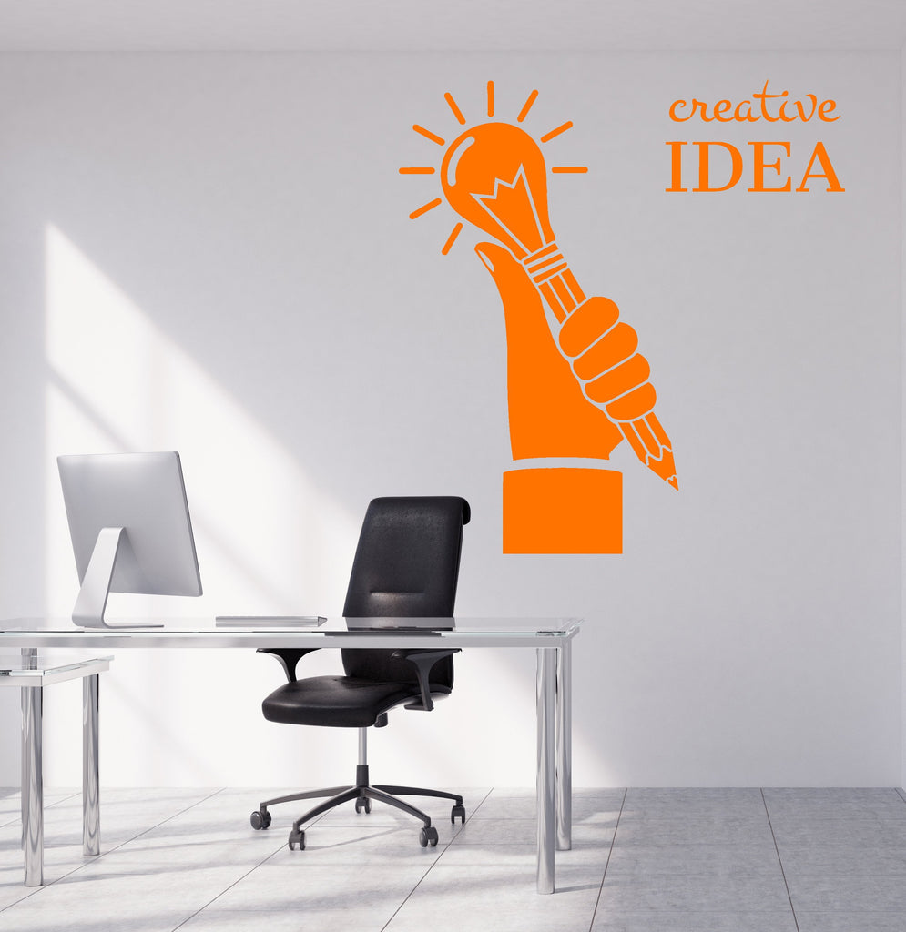 Vinyl wall decal creative idea light bulb home office decor logo stick wallstickers4you
