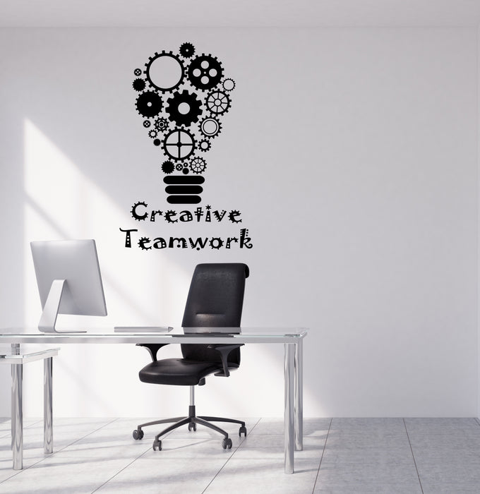 Vinyl Wall Decal Business Creative Teamwork Logo Office Decor Light Bulb Gear Stickers (4177ig)