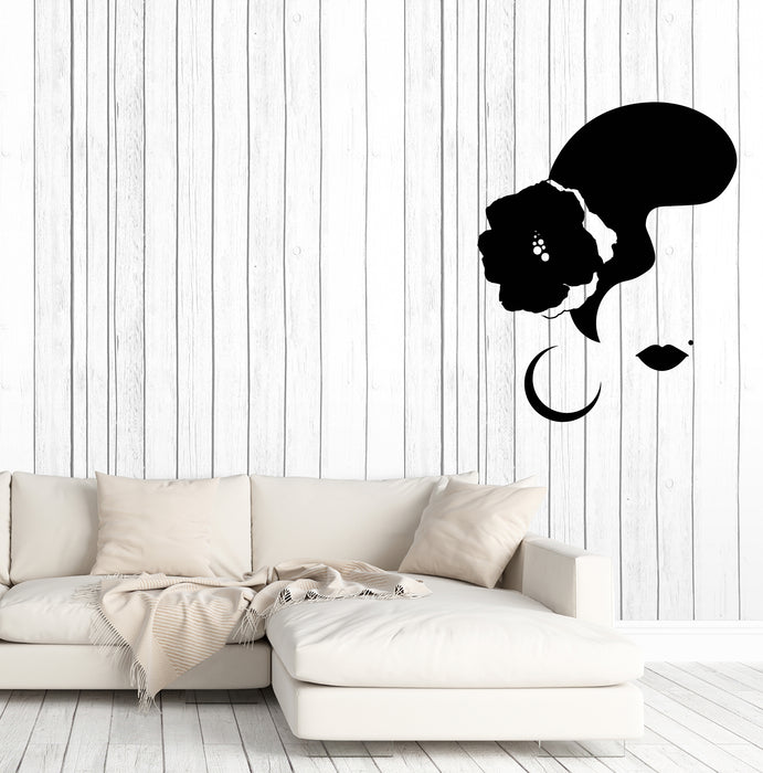 Vinyl Wall Decal Spanish Dancer Woman Face Flower Flamenco Dance Stickers (3778ig)