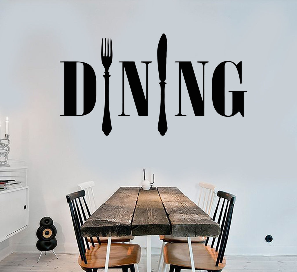 Vinyl Wall Decal Dining Room Kitchen Chef Cook Cutlery Stickers - Wall decals dining room