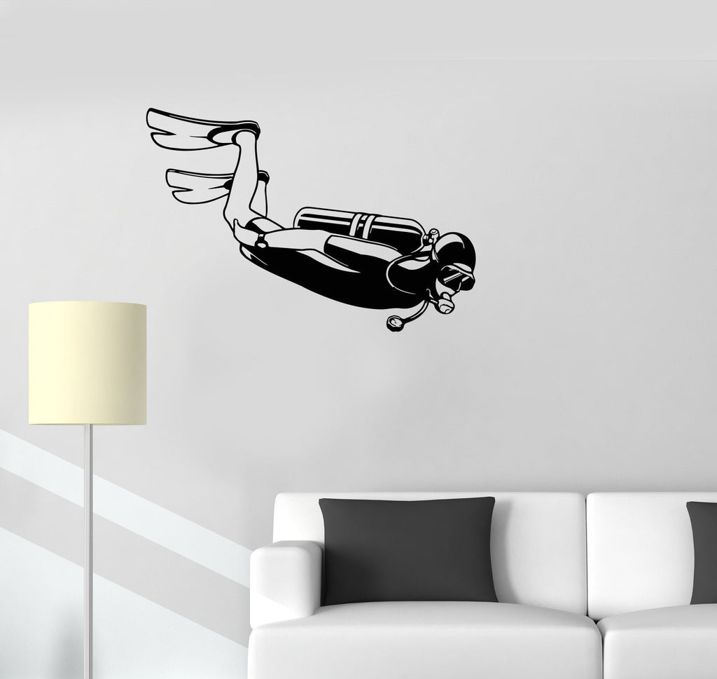 Vinyl Decal Diver Sports Water Extreme Sports Marine Ocean Wall Stickers Unique Gift (ig2714)
