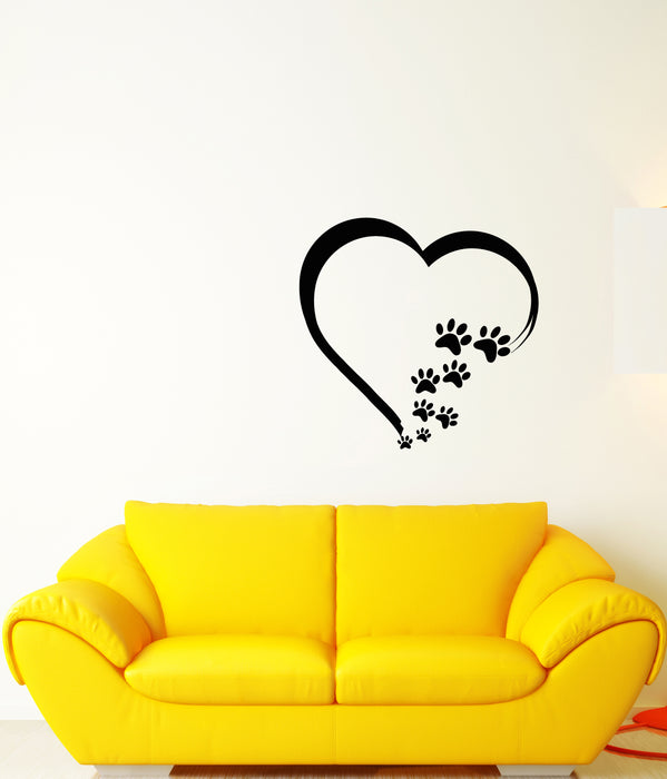 Vinyl Wall Decal Heart Symbol Love Pets Tracks Animal Dog Cat Stickers (3776ig)