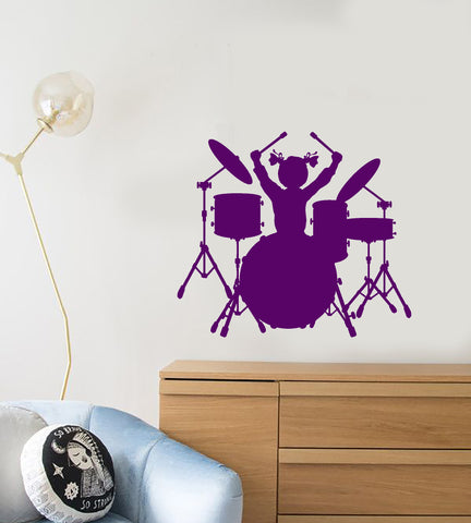 Vinyl Wall Decal Drum Kit Musician Drummer For Little Girl Stickers (3211ig)