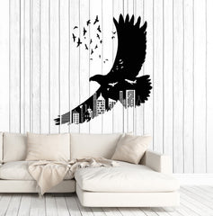 Vinyl Wall Decal American Bald Eagle Birds Art Big City Gothic Style Stickers Unique Gift (1377ig)