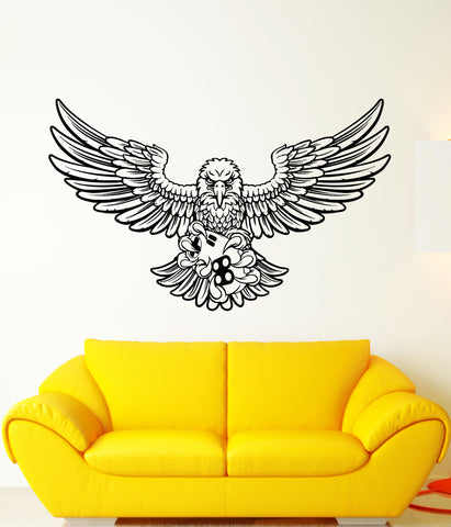 Vinyl Wall Decal Bald Eagle Feathers Gamer's Room Joystick Stickers (3241ig)