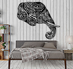 Vinyl Wall Decal Animal Indian Elephant Head Ornament Stickers Unique Gift (709ig)