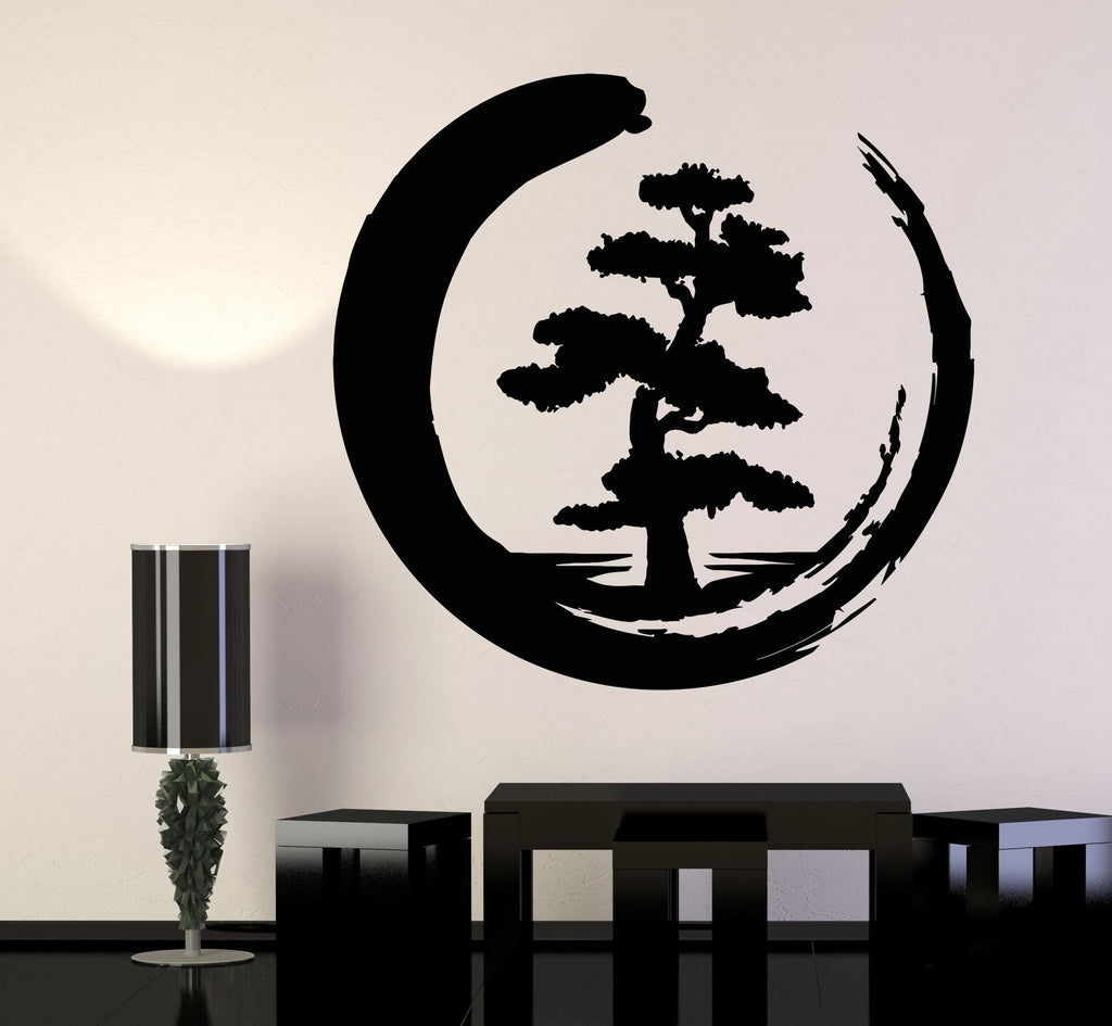 Vinyl Wall Decal Enso Tree Of Life Zen Circle Buddhism Yoga ... for Wall Sticker Tree Silhouette  75tgx