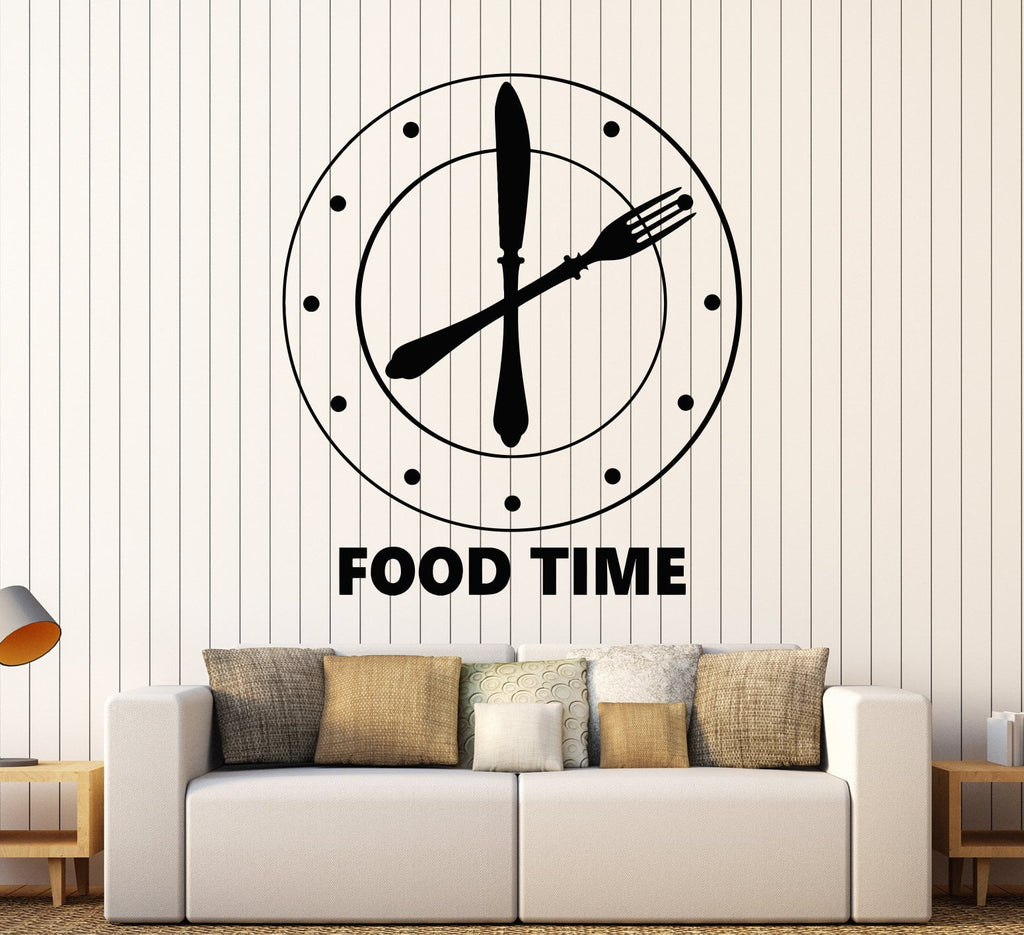 Vinyl Wall Decal Clock Food Time Kitchen Funny Decoration Stickers Unique Gift (1641ig)  sc 1 st  Wallstickers4you & Vinyl Wall Decal Clock Food Time Kitchen Funny Decoration Stickers ...