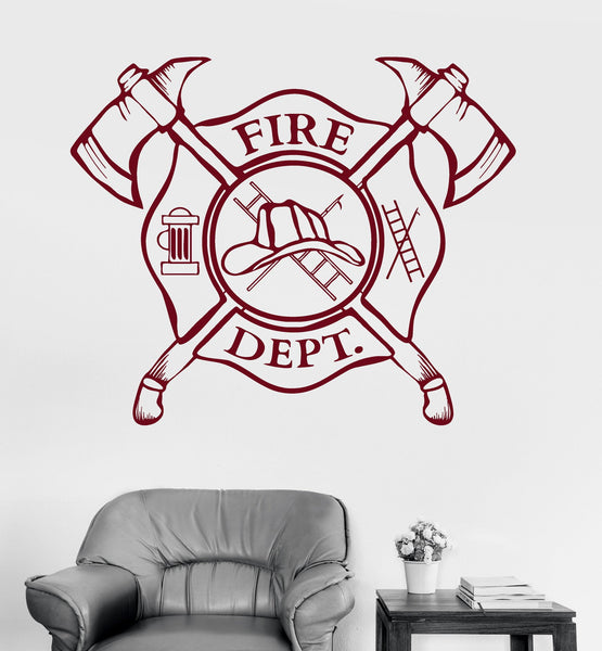Vinyl Wall Decal Fire Department Emblem Shield Firefighter Stickers I Wallstickers4you