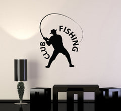 Vinyl Decal Fishing Club Fish Hobby Man Decor Wall Stickers Mural Unique Gift (ig2708)