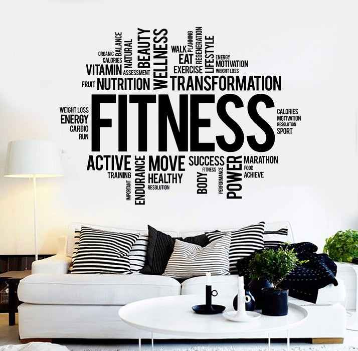 Vinyl Wall Decal Fitness Word Cloud Healthy lifestyle Gym Motivation Stickers Unique Gift ig3825