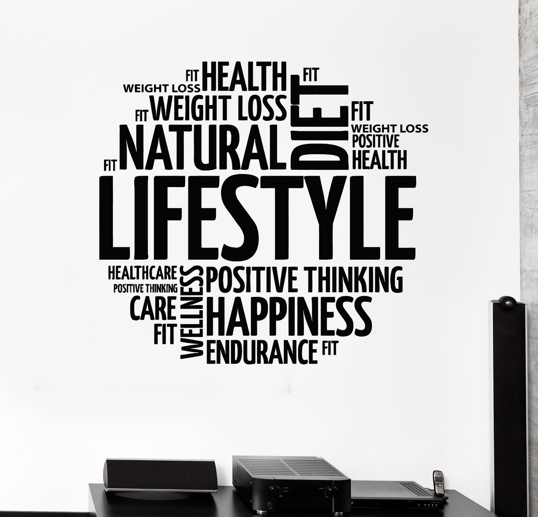 Vinyl Wall Decal Healthy Lifestyle Words Motivation Diet Stickers Unique Gift (ig4251)