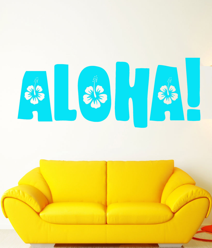 Vinyl Wall Decal Aloha Word Quote Hawaii Beach Style Stickers Unique Gift (1704ig)