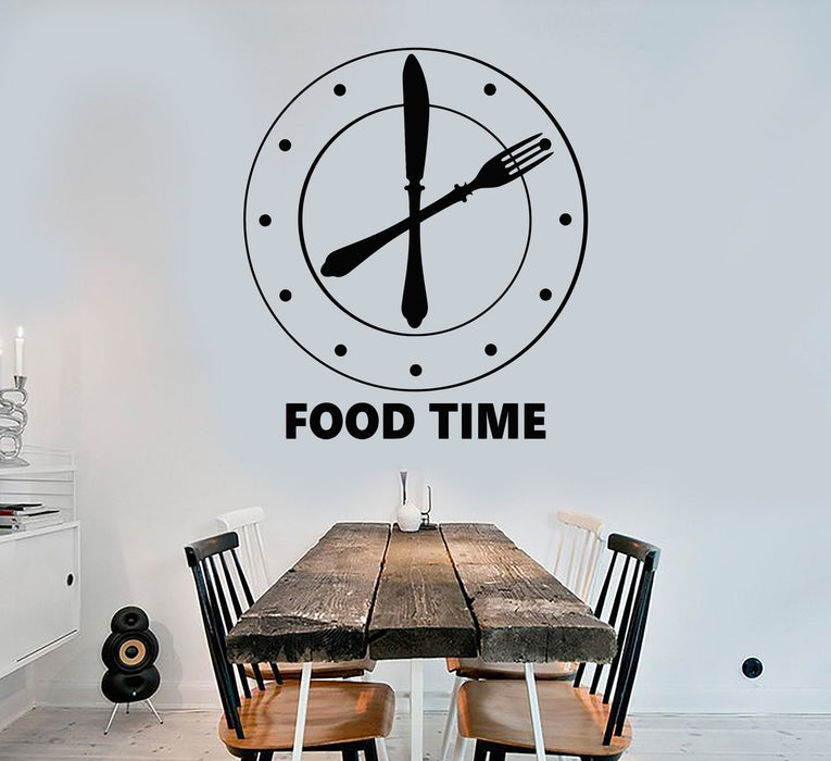 Vinyl Wall Decal Clock Food Time Kitchen Funny Decoration Stickers