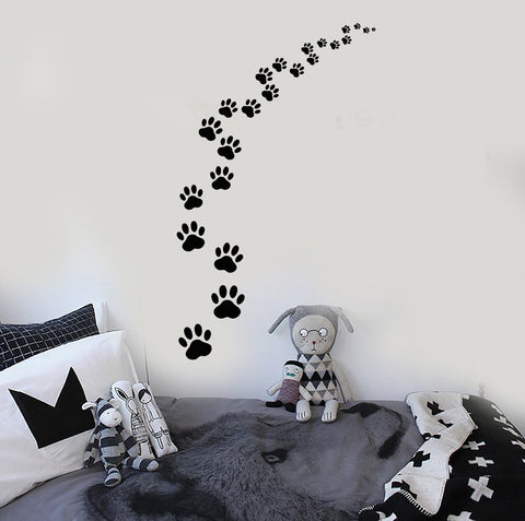 Vinyl Wall Decal Footprints Paws Animal Pet Cat Dog Stickers (ig3829)