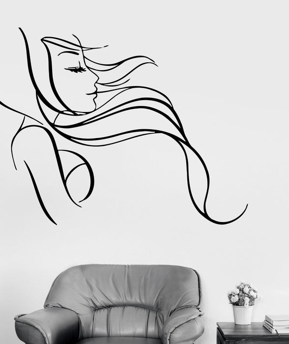 Wall Stickers Vinyl Decal Beautiful Sexy Woman Long Hair Salon Barbershop Unique Gift (ig619)