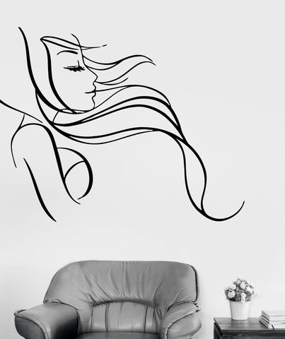 Wall Stickers Vinyl Decal Beautiful Sexy Woman Long Hair Salon Barbershop (ig619)
