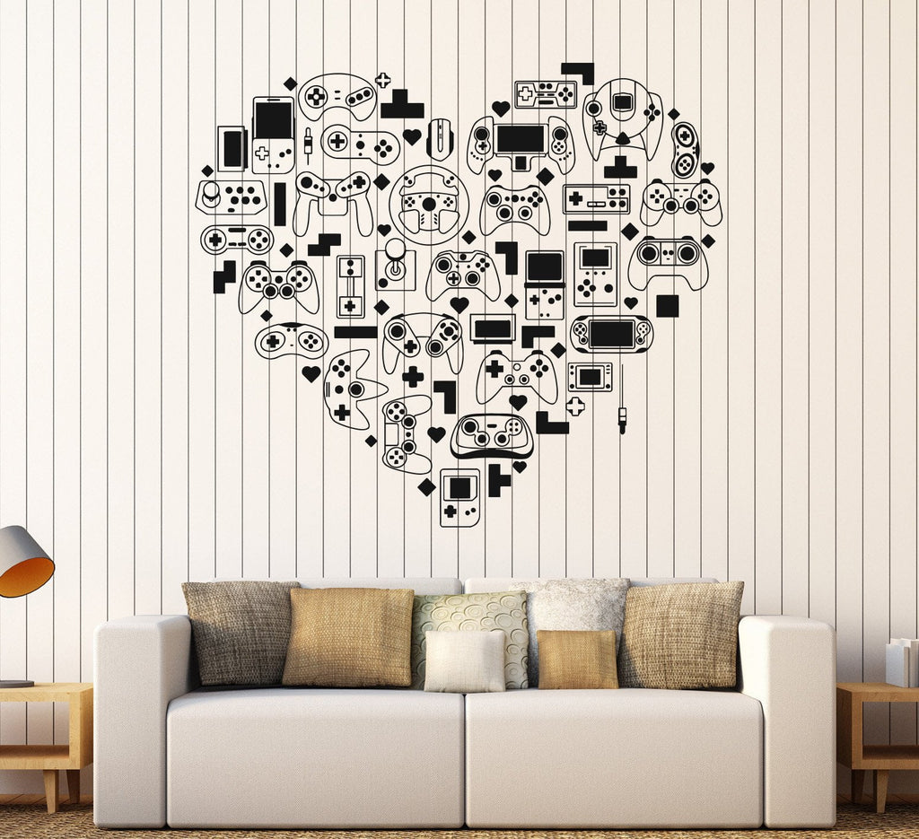 Vinyl Wall Decal Video Game Console Gamer Heart Joystick Stickers ...