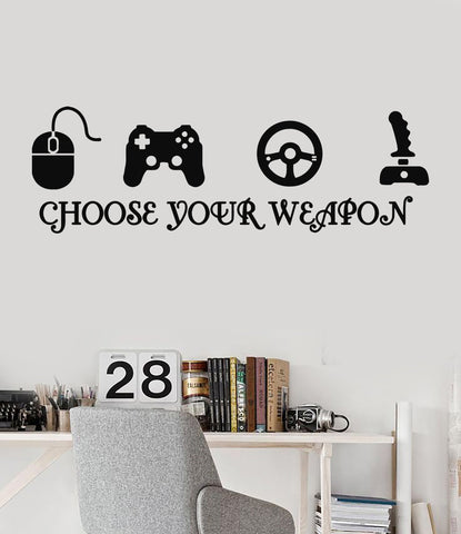 Joystick Gamer Vinyl Wall Decal Quote Video Game Play Room eSports Stickers (ig3216)