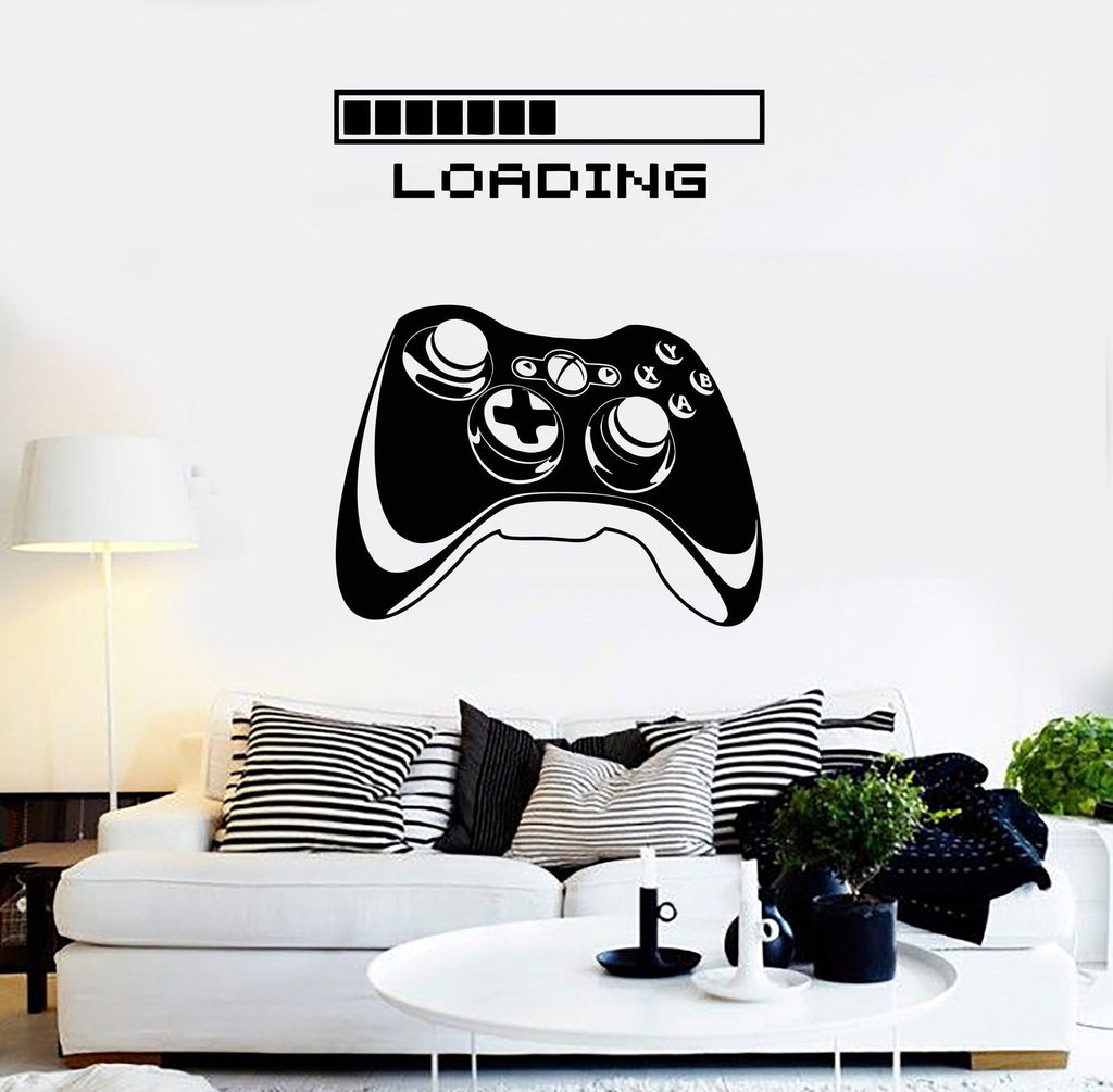 Gaming Vinyl Wall Decal  Art Joystick Loading Video Game Stickers (ig4195)