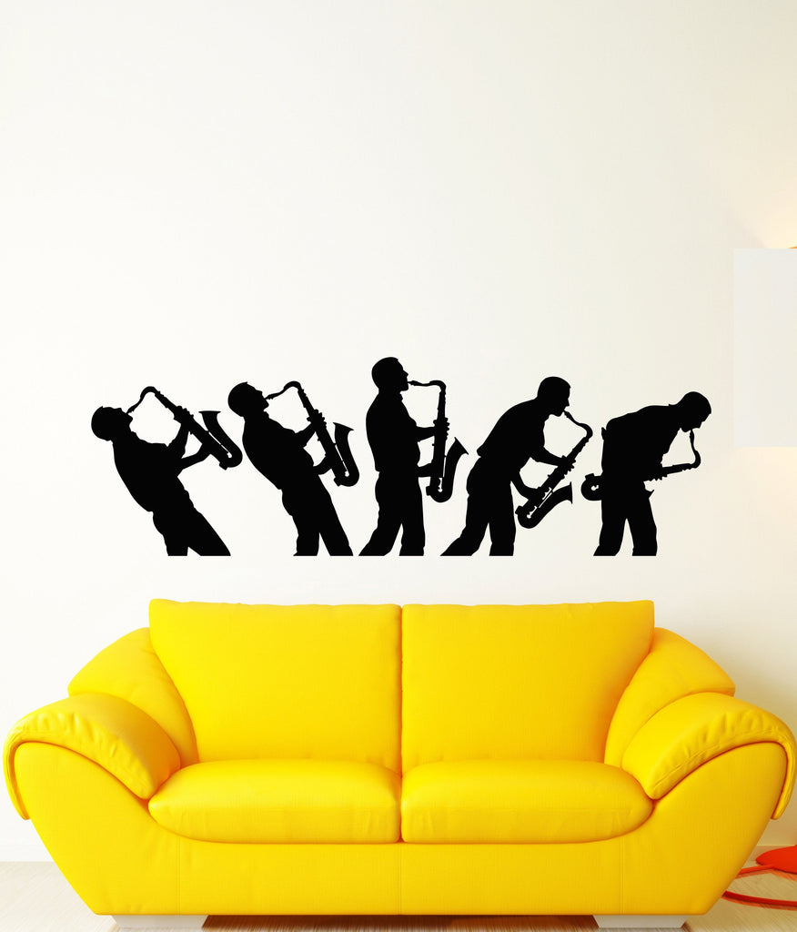 Vinyl Wall Decal Jazz Bar Saxophone Musician African Black Music ...