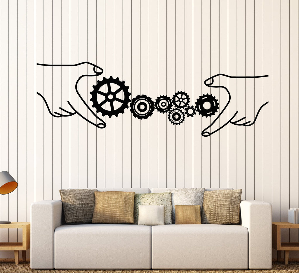 Vinyl Wall Decal Gears Office Style Business Teamwork Stickers - Vinyl wall decals business