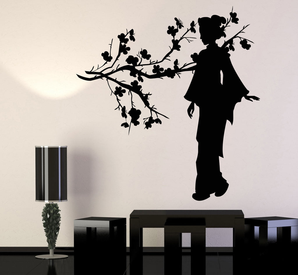 Vinyl Wall Decal Geisha Japanese Girl Sakura Tree Branch Japan - Japanese wall decals
