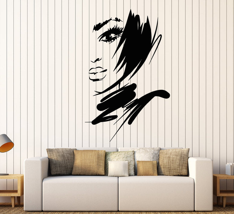 Vimyl Wall Decal Beautiful Face Girl Fashion Model Sexy Lips Stickers Unique Gift (1778ig)