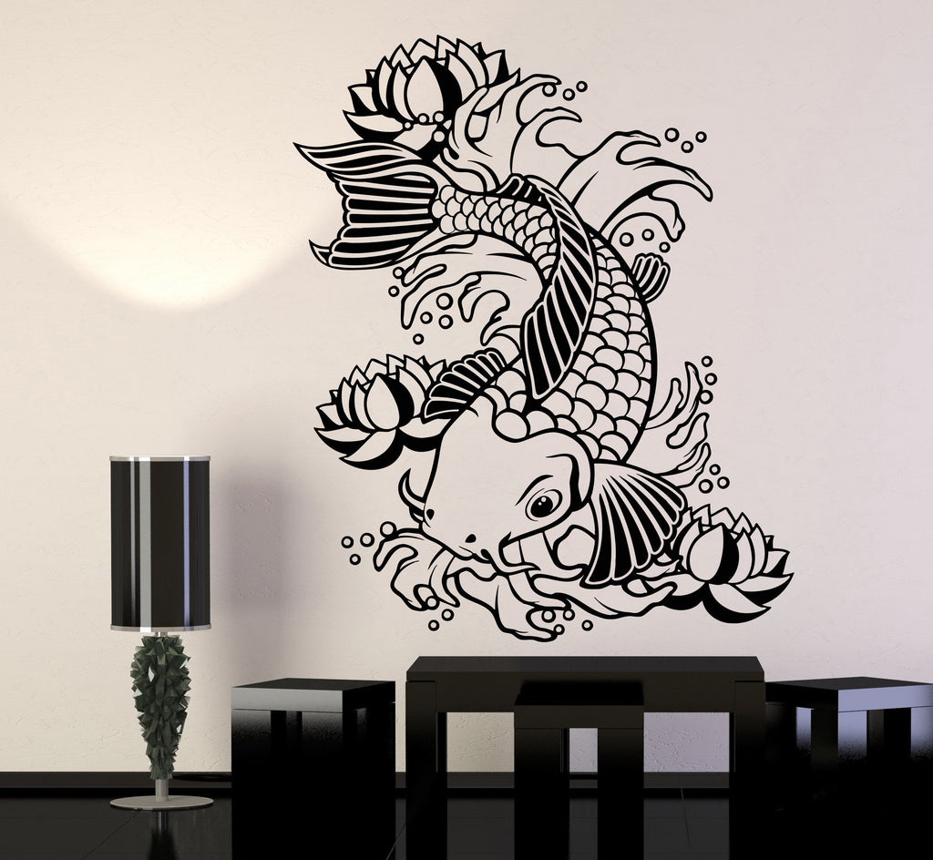 Vinyl wall decal koi japanese fish water lily flowers for Koi fish wall stickers