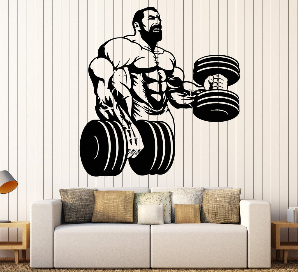 Sticker gym wall - Vinyl Wall Decal Powerlifting Gym Beautiful Body Muscle Man Fitness Trainer Stickers 742ig