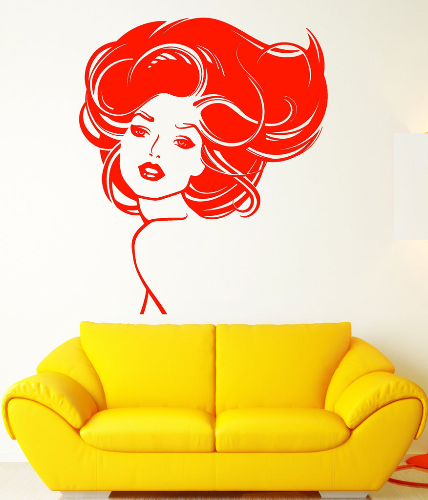Vinyl Wall Decal Beauty Hair Salon Girl Woman Model Stickers Unique ...