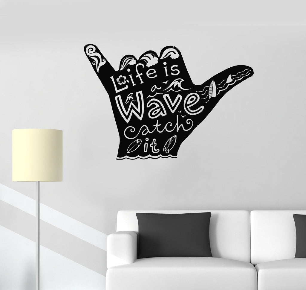 Beach style wall vinyl decal page 4 wallstickers4you vinyl wall decal shaka surfing surfer surf bored water sport stickers unique gift 991ig amipublicfo Gallery