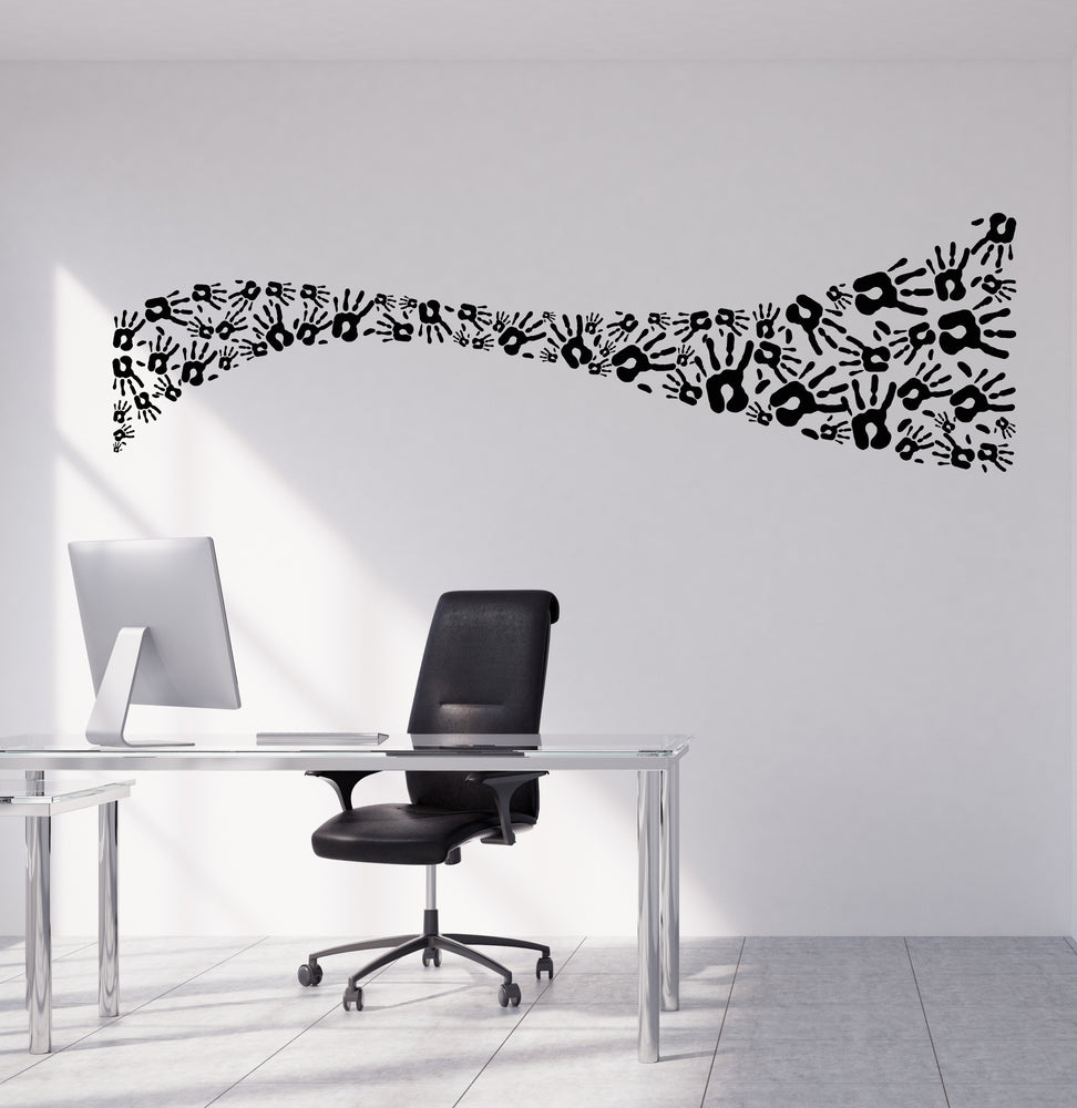 Vinyl Wall Decal Hands Print Blot Positive Office Decor for Nursery Stickers (4128ig)