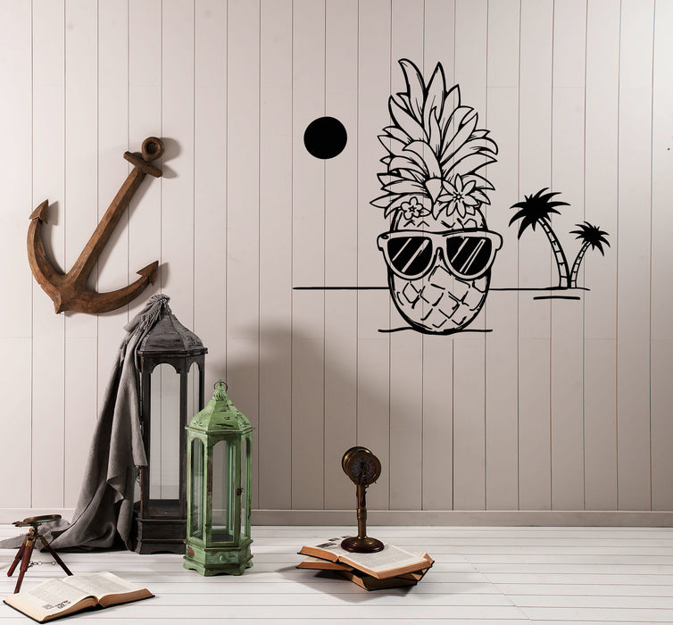 Vinyl Wall Decal Pineapple Hawaii Beach Tropical Style Funny Sunglasses Summer Stickers (4186ig)