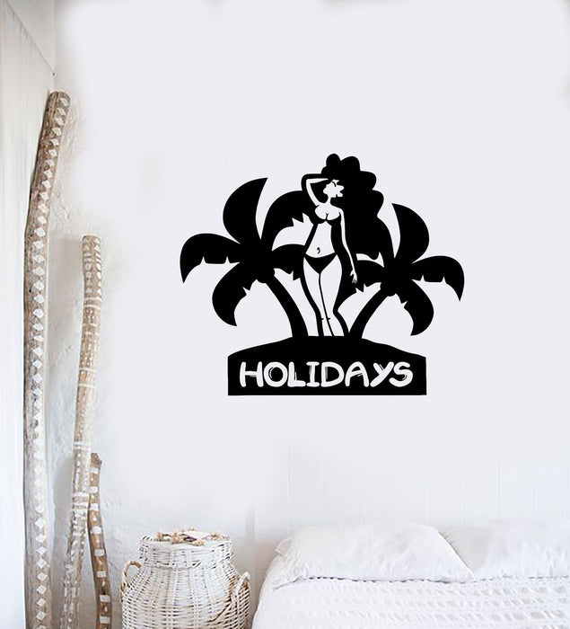 Holidays Wall Stickers Vacation Woman Beach Relax Travel Vinyl Decal Unique Gift (ig2449)