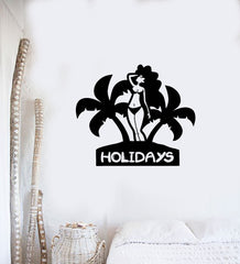 Holidays Wall Stickers Vacation Woman Beach Relax Travel Vinyl Decal (ig2449)