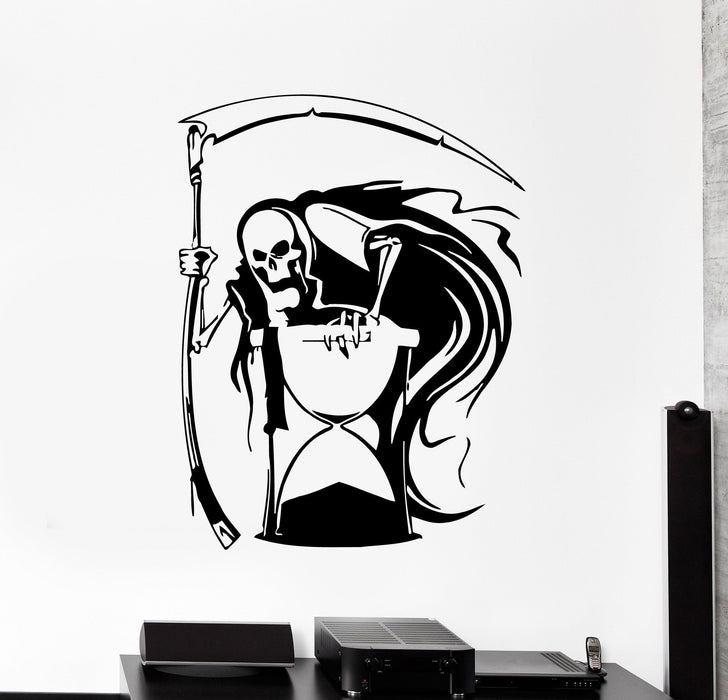 Vinyl Wall Decal Grim Reaper Death Hourglass Horror Stickers