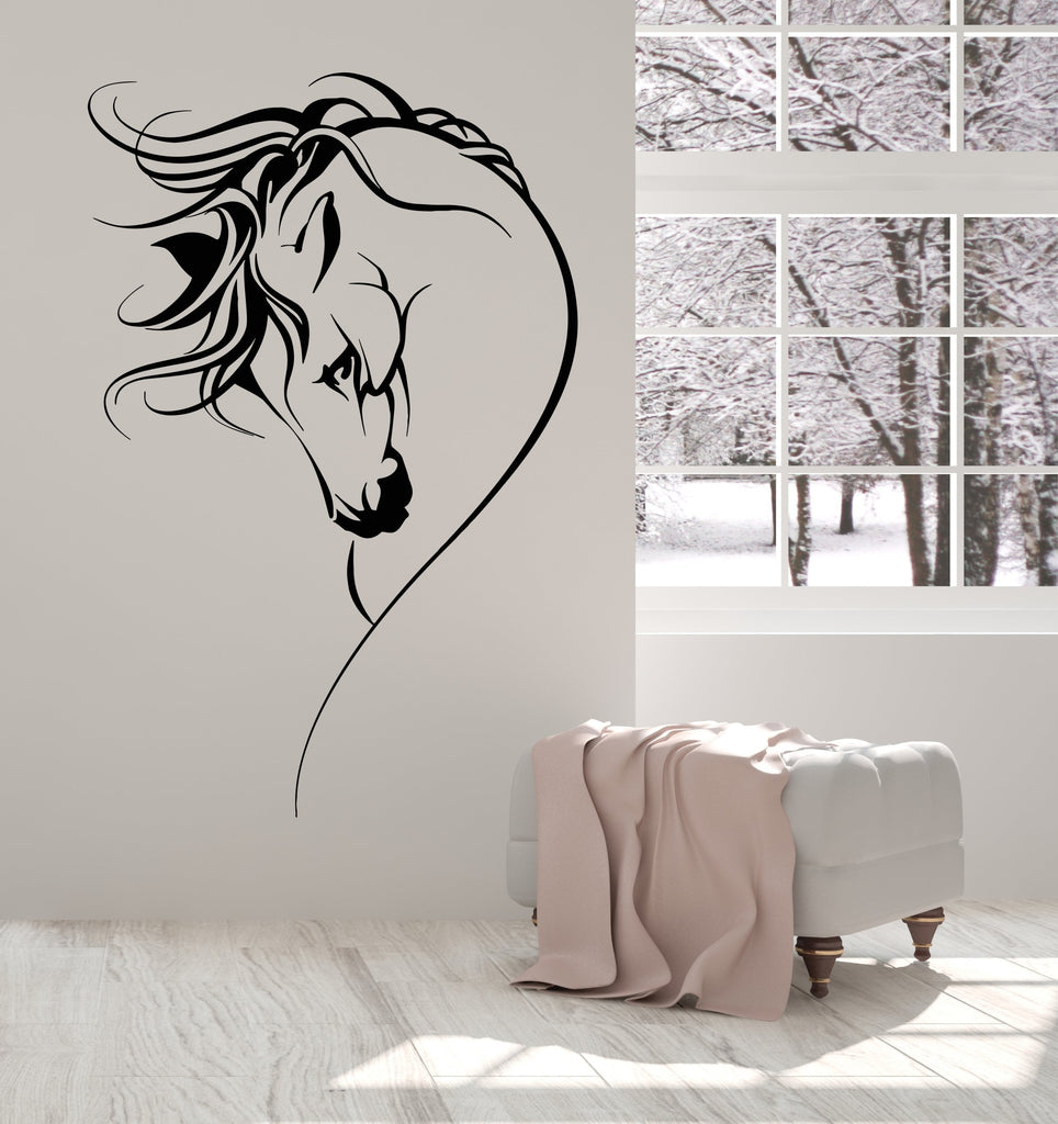 Vinyl Wall Decal Horse Head Pet Animal Girl Room Decor Stickers