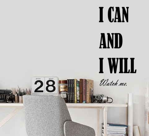 Vinyl Wall Decal Stickers Motivation Quote Words I Can And I Will Inspiring Letters 2008ig (10 in x 22.5 in)